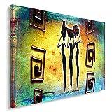 Feeby Frames, Leinwandbild, Bilder, Wand Bild, Wandbilder, Kunstdruck 40x60cm, ABSTRAKTION, AFRIKA, MUSTER, FRAUEN, DREI, GELB, GRÜN, ROT,