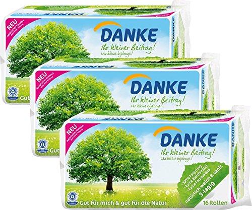 Danke Toilettenpapier 3-lagig Riesenpackung, 3 Packungen (je 16 Rollen x 150 - 3-lagige Wc-papier