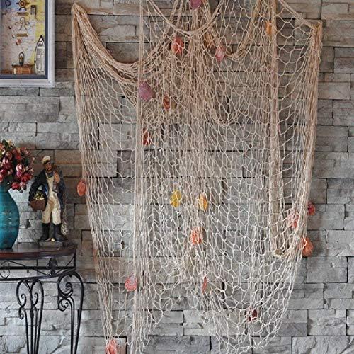 Biutee Dekoration Fischnetz mit Muscheln Maritime Deko Beach deko 150cm*200cm(WT)