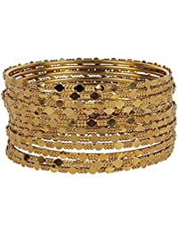 MUCH MORE Beautiful Charm Look Stunning Gold Plated Metal Bangle Set For Women