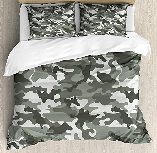 Soefipok Camouflage-Bettbezug-Set Twin Size, Monochrome Kleidung Muster Camouflage innerhalb Vegetation Fashion Design Print Floral Bettbezug und Kissen Shams Bed Set, graue Kokosnuss - Camouflage Kissen Sham