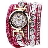 Rrimin Duoya Leather Bracelet Watch Rhinestone Quartz Bracelet Watch (Rose Red)