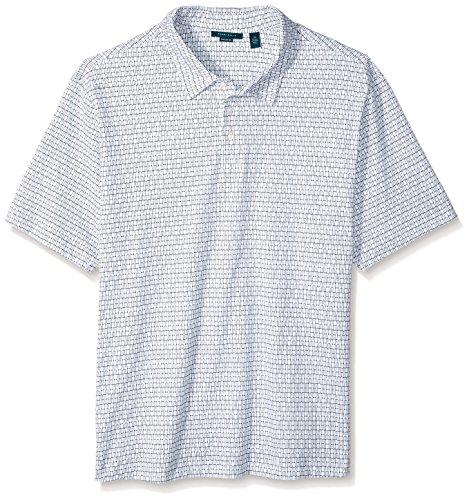Perry Ellis Herren Big & Tall Interlocking Geometric Pima Cotton Polo Shirt Poloshirt, Bright White, XL Hoch -