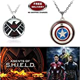 (2 Pcs AVENGER SET) - AGENTS OF S.H.I.E.L.D & CAPTAIN AMERICA REVOLVING SHIELD IMPORTED PENDANTS. LADY HAWK DESIGNER SERIES 2018. ❤ ALSO CHECK FOR LATEST ARRIVALS - NOW ON SALE IN AMAZON - RINGS - KEYCHAINS - NECKLACE - BRACELET & T SHIRT -
