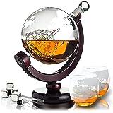Whisiskey® Karafka do whisky - globus - zestaw karafek do whisky - 800 ml - prezent dla mężczyzn i kobiet - w zestawie 4 kami