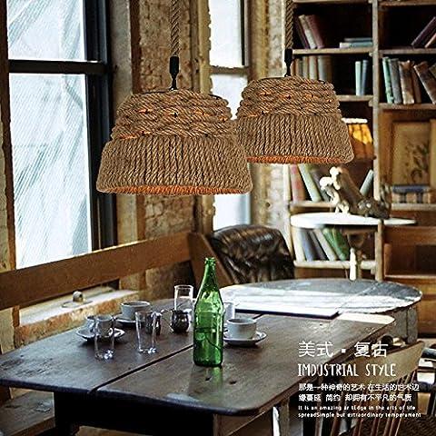 ZSQ Nordic American Village Creative lampadario antichi retrò pendente corda luce L diametro dello spago 40cm #111 - Mason Spago