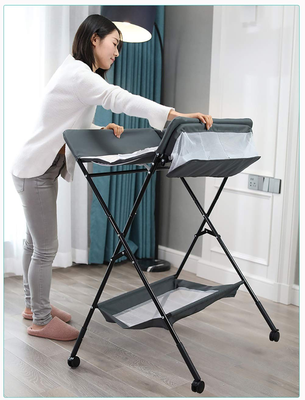 QZ® Changing Table with Wheels - Nursery Restroom Toddler Newborn Baby Foldable Adjustable Diaper Station with Storage, Gray/Green (color : Blue)
