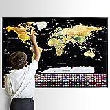Homein Weltkarte Zum Rubbeln mit Flaggen, Scratch Off Weltkarte Geschenke Reisen Poster Landkarte mit Fahnen Travel Karte Zum Freirubbeln auf Englisch Schwarz Gold 82 x 59 cm