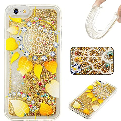 iPhone 6/6S Case,MUTOUREN Flowing Liquid Bling Sparkle Shining Glitter Quicksand[Scratch]Soft Gel TPU Silicone Bumper Scratch-Resistant Premium Anti-Slip Shockproof Absorption Cute Cover foriPhone 6/6S (Gold
