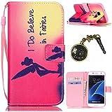 PU Cuir Coque Strass Case Etui Coque étui de portefeuille protection Coque Case Cas Cuir Swag Pour( Samsung Galaxy S7 Edge)+Bouchons de poussière (13)