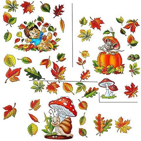 """3 versch. Bögen: Fensterbilder """" lustige Tiere im Herbst """" - Blätter / Igel / Maus / Schnecke - Pilz / Kürbis / Eicheln sammeln - Laubblätter - statisch haftend - selbstklebend + wiederverwendbar / Sticker Fenstersticker Aufkleber - Herbstfrüchte Kastanien Kürbisse - Fensterbild - z.B. für Fenster und Spiegel - Fensterdeko Fensterfolie Kinderzimmer Deko"""