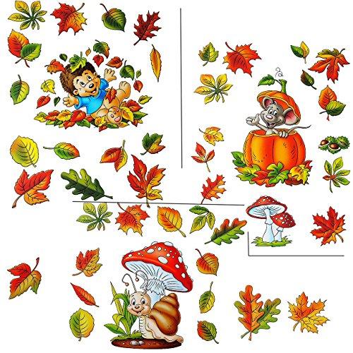 Unbekannt 3 versch. Bögen: Fensterbilder  lustige Tiere im Herbst  - Blätter / Igel / Maus / Schnecke - Pilz / Kürbis / Eicheln sammeln - Laubblätter - statisch hafte.. -