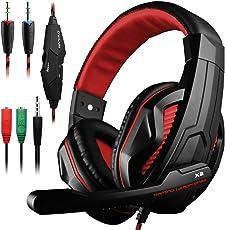 Gaming Headset, DLAND 3.5mm hanno fissato Bass isolamento Stereo rumore di gioco delle cuffie con microfono per il computer portatile, cellulare, PS4 e controllo del volume in modo on-(nero e rosso)