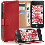 moex iPhone 4S | Hülle Rot mit Karten-Fach 360° Book Klapp-Hülle Handytasche Kunst-Leder Handyhülle für iPhone 4/4S Case Flip Cover Schutzhülle Tasche
