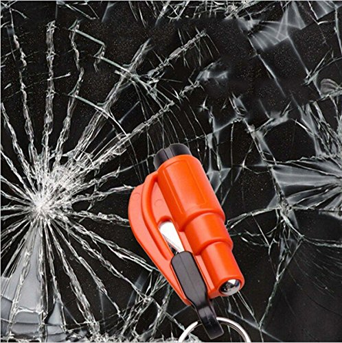 Mini Car Window Breaker Sicherheitshammer, Notfallhammer mit Schlüsselkette aus Cutter (Zufallsversand)