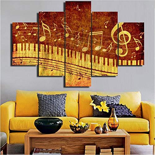 Multi-panel-rahmen (YANGSHUANG Multi Panel Leinwand Wandkunst Gedruckt Noten Gemälde für Wohnzimmer, Moderne Kunstwerke Wohnkultur Poster und Drucke Rahmen Leinwand Gemälde)