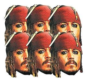Star Cutouts-stsmp62-6máscaras para Adulto-Capitán Jack Sparrow-Talla única
