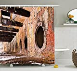 ROBIN GREEN Industrial Decor Collection, Ruins of an Old Industrial Site 1890's The Most Polluted Towns in Europe Picture, Polyester Fabric Bathroom Shower Curtain, 84 inches Extra Long, Ivory