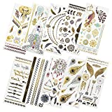 Kbnian 10 Blätter Temporary Tattoos Metallic Indianer Tattoo Wasserdicht Aufkleber Flash Tattoos mit 100+ Motiven Schmuck zum Body, Arm, Gesicht für Party und Reisen