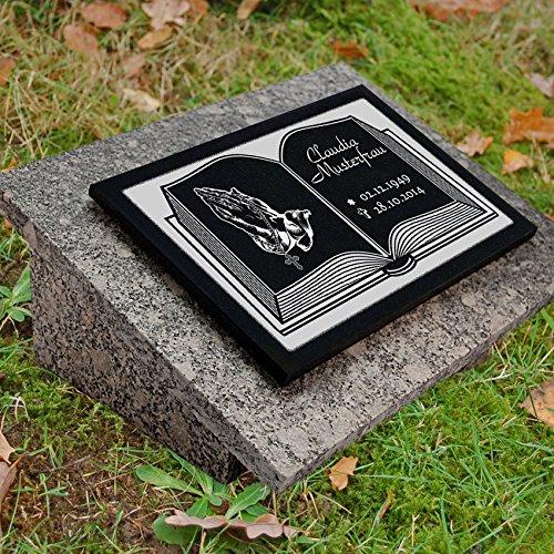 """GRANIT Grabstein, Grabplatte oder Grabschmuck mit dem Motiv """"Buch-gg4s"""" und Ihrem Text/Daten von LaserArt24"""