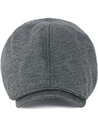 ililily Schirmmütze: besteht aus leichter und weicher Baumwolle, auch bekannt als Schiebermütze oder Flat Cap, vorgeformtes Design, Stretch-Fit Chaffeurmütze, Golfermütze, Baskenmütze