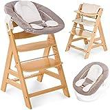 Hauck Alpha Newborn drewniane krzesełko dziecięce z funkcją leżenia, beżowe