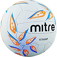 Mitre Ultra Agarre, Netball, Unisex, Ultra Grip, White/Cyan/Orange