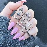 Kentop Boho Midi Anillos Set uñas Finger Banda Anillo Juego de Plata para Mujer Chica