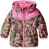 Pink Platinum Baby Girls Camo Colorblock Puffer, Olive, 18M