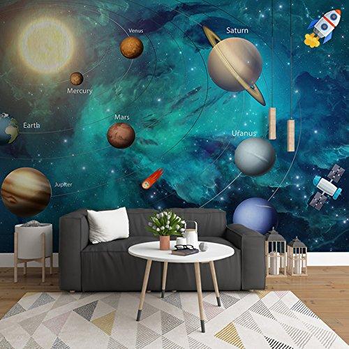 Yosot Cartoon\'S Universum Planeten Kinder Zimmer 3D Tapeten Junge Schlafzimmer Wand Tuch 3D Solid Wandmalereien-200Cmx140Cm