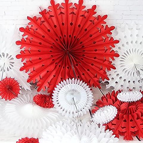 SUNBEAUTY 12er Set Rot Weiß Papier Schneeflocken Fächer Seire für Weihnachten Fan Dekoration