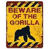 Mr.sign Beware of The Gorilla Targa in Metallo Targhe Cartello Retro Decorazione della Parete per Negozio Garage Casa Giardino Bar Caffetteria Ristorante Hotel