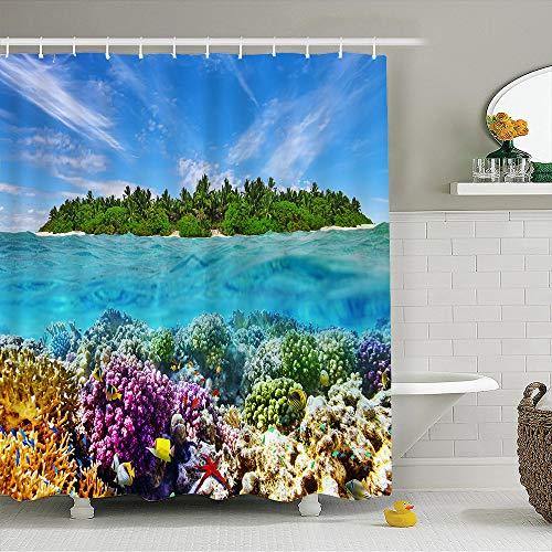 asadsafe Koralle, Meeresboden, Insel, Blauer Himmel, hochwertiger Duschvorhang, mehltau- und wasserdichter Langer Duschvorhang (Die Korallen Insel)