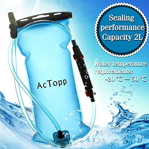 AcTopp Trinkblase 2L FDA genehmigt lecksicher Trinkbeutel mit Filter Wasserreservoir Rucksack Trinksystem für Rucksack - 3
