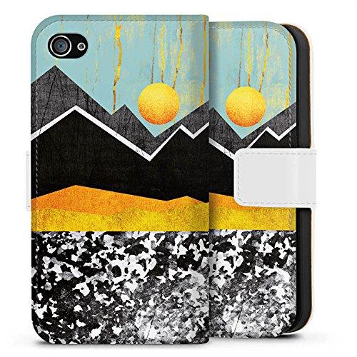 Apple iPhone X Silikon Hülle Case Schutzhülle Berge Himmel Sonne Sideflip Tasche weiß