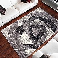Tapiso Alfombra De Salón Moderna – Color Gris Diseño Retro Rayas – Varias Dimensiones S-XXXL 130 x 190 cm