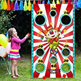 Carnival Party Decoration Supply Set, 8 Holes Carnival Clown Toss Game Banner with 3 Bean Bags and 9.8 ft Rope for Kids and Adults in Carnival Party Activities