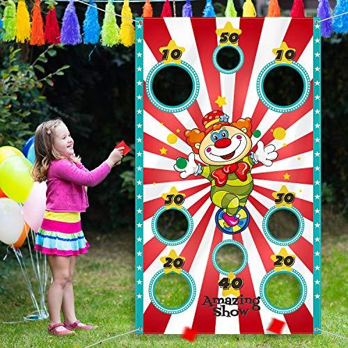 Karneval Party Dekoration Liefern Set, 8 Loch Karneval Clown Wurf Spiele Banner mit 3 Sitzsäcken und 9,8 Fuß Seil für Kinder und Erwachsene in Karneval Party Aktivitäten -