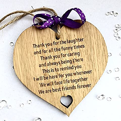 Best Friends Forever Wooden Hanging Heart Friendship Love Gift - Thank You Sign
