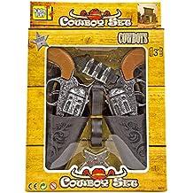 Cowboy-Pistolen-Set Kostüm Gürtel Sheriff Stern Fasching Spielzeugpistolen Holster Kostüm Fasching WESTERN SET Kinder 2 Revolver