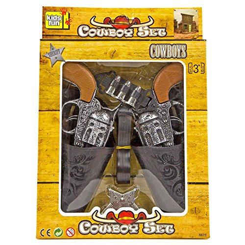 Cowboy-Pistolen-Set Kostüm Gürtel Sheriff Stern Fasching Spielzeugpistolen Holster Kostüm Fasching WESTERN SET Kinder 2 Revolver (Gürtel Und Holster Set)