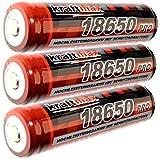 3x Kraftmax 18650 Pro Akku mit PCB Schutzschaltung - speziell für LED Taschenlampen ( 3,7V / 9,62 Wh )