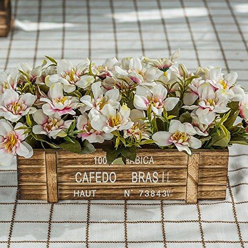 Flinfeays Kunstblumen Gefälschte Blumen Kreative Holzzäune Diy Weihnachtsgeschenke Hochzeit Party Küche Dekorieren Blumen Holztöpfe Sehr Realistische Weiß -39