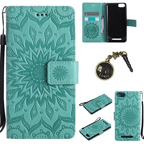 Preisvergleich Produktbild für Wiko Lenny 3 Hülle,Hochwertige Kunst-Leder-Hülle mit Magnetverschluss Flip Cover Tasche Leder [Kartenfächer] Schutzhülle Lederbrieftasche Executive Design +Staubstecker (7GG)