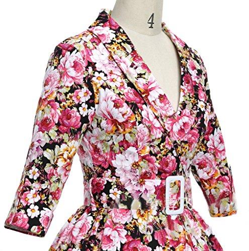 Eyekepper Robe Femme demoiselle annees 1950 vintage style 3/4 manches jardin floral Rouge