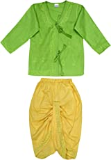 Littly Baby Boy's Embroidered Ethnic Cotton Dhoti Kurta (Green, 9-12 Months)