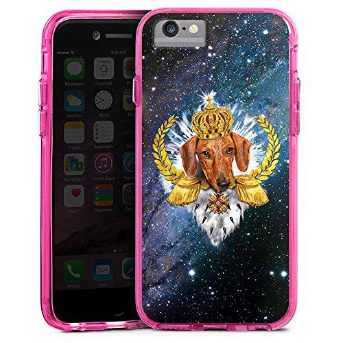 Apple iPhone 6 Bumper Hülle Bumper Case Glitzer Hülle Dackel Koenig King Bumper Case transparent pink