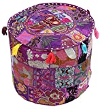 CYBER MONDAY SALE WEEK 2016SouvNear Southwest Ottoman Foot Stool Pouffe 46.9 x 35.9 cm Bohemian Pouffe Cover - Handmade in 100% Cotton Fabric with Patchwork on Lavender Base - Living Room Decor  Thinking out of the box and taking a step forward in up...