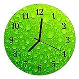 Glasuhr von DekoGlas 30cm runde Bilderuhr aus Acrylglas mit lautlosem Quarzuhrwerk Glaswanduhr Dekouhr Uhr Wanduhren aus PMMA Küchenuhr Glasbilder Wanddekoration Tropfen grün