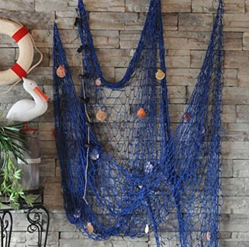 Whitelotous Dekorative Nautisches Angeln Net Seaside Wand Beach Party Sea Shell Decor blau
